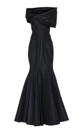 Zac Posen Silk Off-The-Shoulder Gown