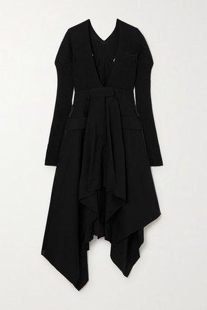 Asymmetric Ribbed Cotton-blend And Cady Dress - Black