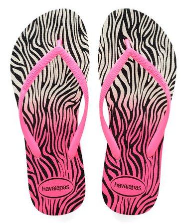 Havaianas White & Shocking Pink Zebra Slim Flip Flop - Women | Zulily
