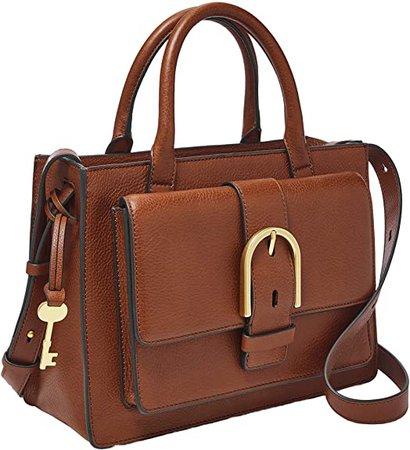 Amazon.com: Fossil Women's Wiley Leather Satchel Handbag, Brown: Shoes