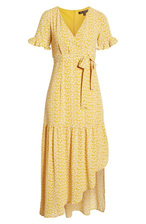 One Clothing Faux Wrap Maxi Dress Yellow