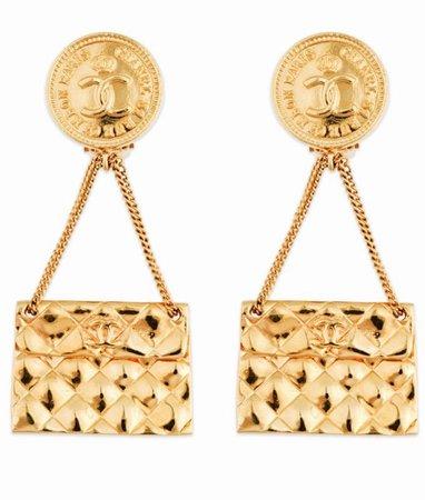 Chanel purse earrings (gold)