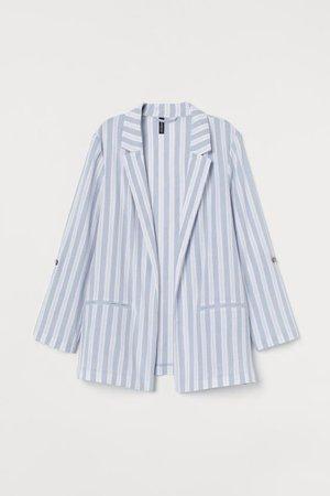 Crêped Cotton Jacket - Light blue/striped - Ladies | H&M US