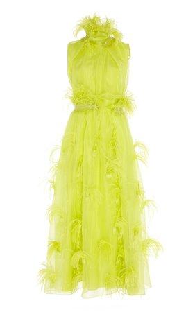 Karea Feather-Embellished Silk Dress by ROKSANDA | Moda Operandi