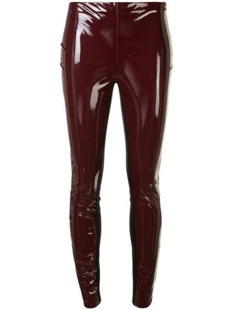 Red Karl Lagerfeld patent finish leggings - Farfetch