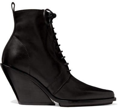Lace-up Leather Wedge Ankle Boots - Black