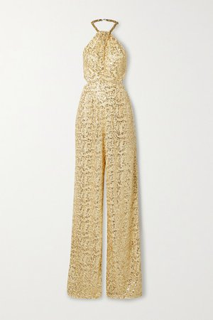 Embellished Crochet And Silk-georgette Halterneck Jumpsuit - Cream