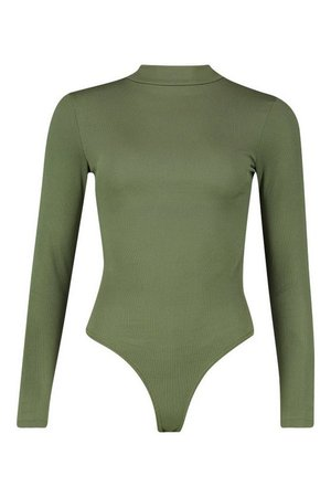 2 Pack Crew Neck Rib Knitted Bodysuit Olive | Boohoo