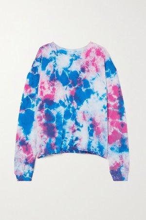 Tie-dyed Cotton-jersey Sweatshirt - Blue