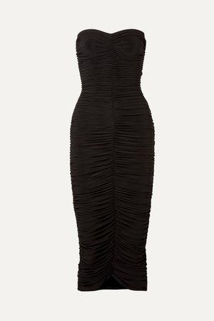 Black Slinky strapless ruched stretch-jersey midi dress | Norma Kamali | NET-A-PORTER