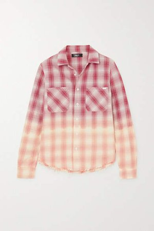Ombre Metallic Plaid Cotton-flannel Shirt - Red