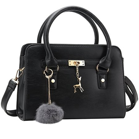 Bagerly Women Fashion PU Leather Shoulder Bags Top-Handle Handbag Tote Bag Purse Crossbody Bag (Black): Handbags: Amazon.com