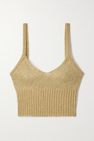 Toria Cropped Sequin-embellished Knitted Tank - Beige