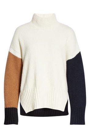 FRAME Colorblock Wool Blend Turtleneck Sweater | Nordstrom