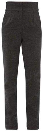 High Rise Tweed Trousers - Womens - Grey