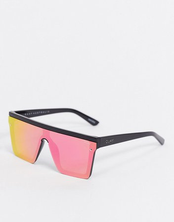 Quay Australia Hindsight visor sunglasses in black with multicoloured lens | ASOS