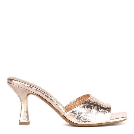 Aldo Castagna Gold Embossed Leather Open Toe Sandals