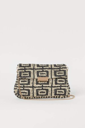 Straw Clutch Bag - Black