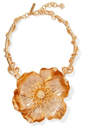 Oscar de la Renta | Poppy gold-plated necklace | NET-A-PORTER.COM