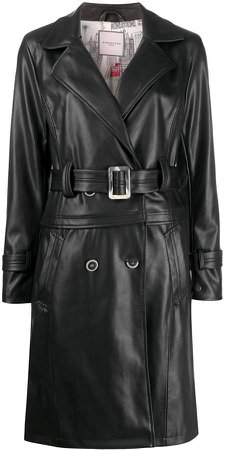Belted Faux-Leather Trench Coat