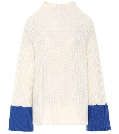 Tory Sport Merino Contrast-cuff Sweater
