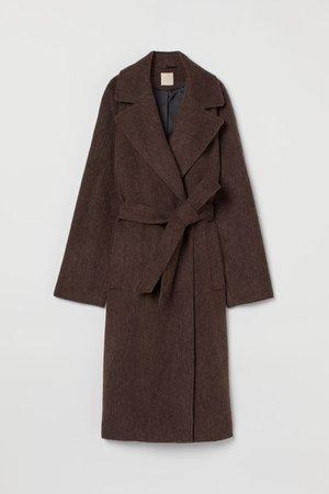 Wool-blend coat - Dark brown - Ladies   H&M GB