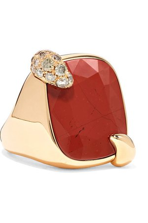 Pomellato | Ritratto 18-karat rose gold, jasper and diamond ring | NET-A-PORTER.COM