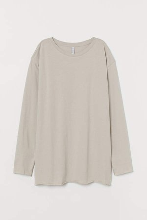 Oversized Jersey Top - Brown