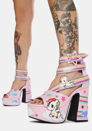 Dolls Kill x tokidoki Stellina Rainbow Platform Sandals - Pink | Dolls Kill