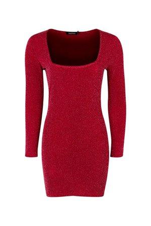 Petite Glitter Square Neck Bodycon Dress | Boohoo