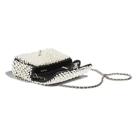Imitation Pearls, Lambskin & Gold-Tone Metal White & Black Flap Bag | CHANEL
