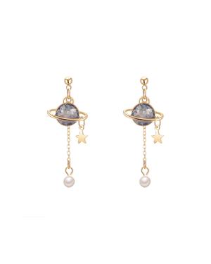 Blue Saturn Earrings