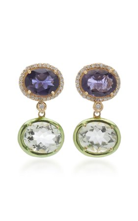 Carol Kauffmann 18K Gold, Iolite and Prasiolite and Diamond Earrings