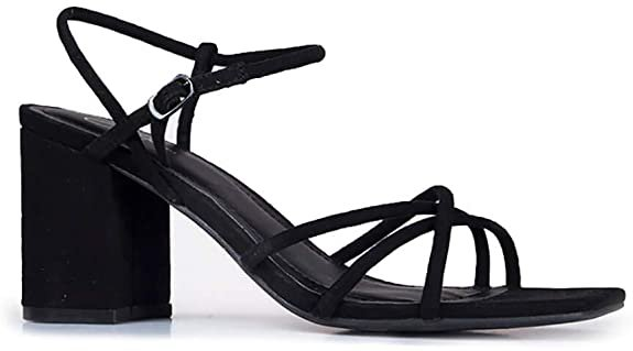 Amazon.com | J. Adams Camila Heeled Sandals - Strappy Square Toe Ankle Strap Block Heels | Heeled Sandals