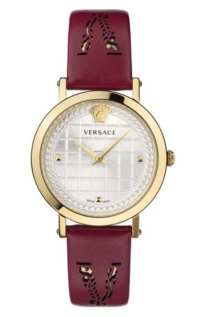 Versace Virtus Texture Dial Leather Strap Watch, 37mm | Nordstrom