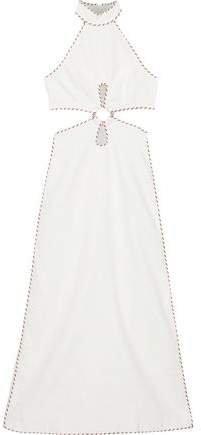 Corsage Braid Cutout Linen Maxi Dress