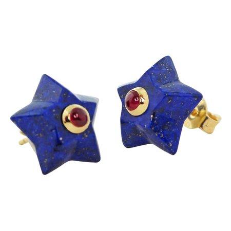 AVGVSTA 18 Karat Yellow Gold Lapis Lazuli and Ruby Star Stud Earrings