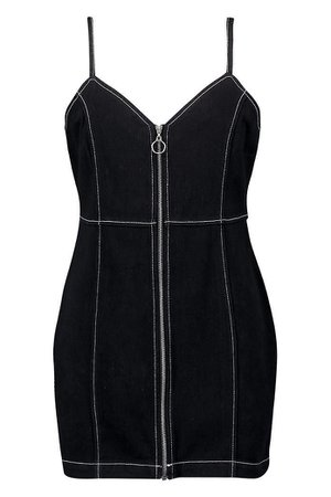 Contrast Stitching Denim Dress   Boohoo