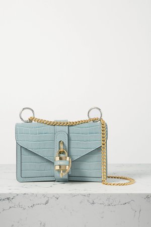 Blue Aby Chain small croc-effect leather shoulder bag | Chloé | NET-A-PORTER