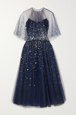 Sequin-embellished Tulle And Silk-blend Lame Gown - Navy