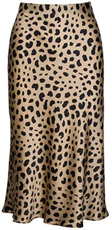 Keasmto Leopard Midi Skirt Plus Size for Women High Waist Silk Satin Skirts Tags XXL at Amazon Women's Clothing store: