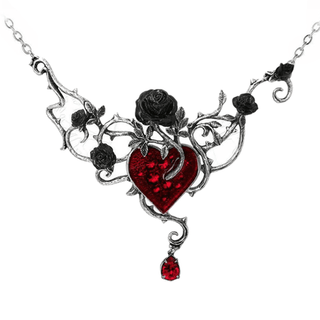 Gothic Black Roses w/ Ruby Heart Choker Necklace