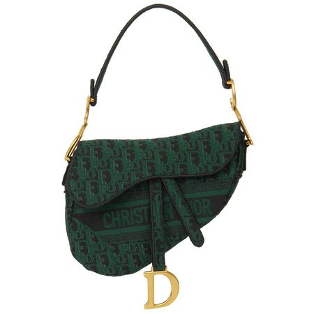 2019 Christian Dior Green and Black Oblique Canvas Saddle Bag For Sale at 1stdibs