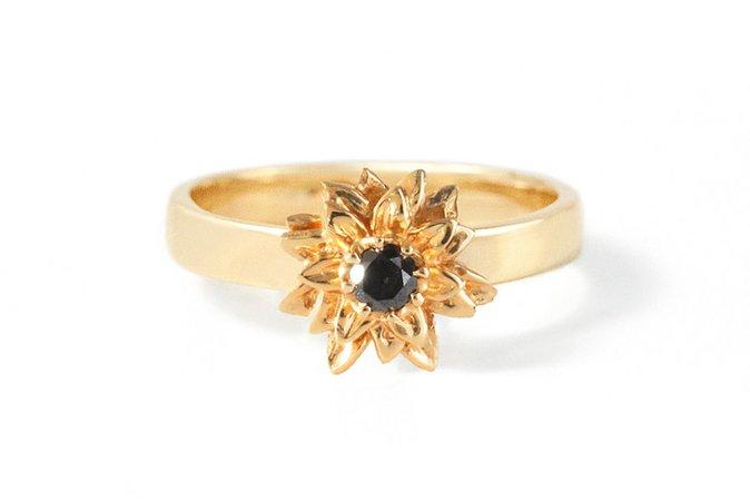 Bernard James Flora Sunflower 14K Gold Ring