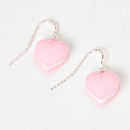 """Silver 0.5"""" Heart Drop Earrings - Pink 