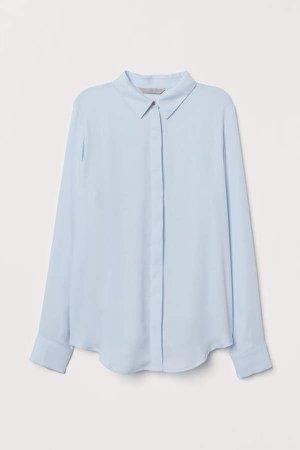 Long-sleeved Blouse - Blue