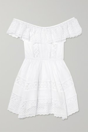 Vaiana Crocheted Lace-paneled Cotton-blend Mini Dress - White