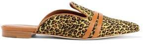 Hermoine Leather-trimmed Leopard-print Calf Hair Slippers