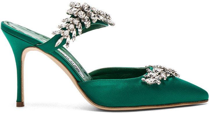 Satin Lurum 90 Heels in Emerald Green Satin | FWRD