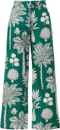 Maison Alma M'O Exclusive Cotton Embroidered Wide Leg Pants